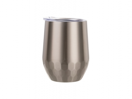 12oz Stainless Steel Stemless Wine Cup (Silver, Hexagon Pattern)