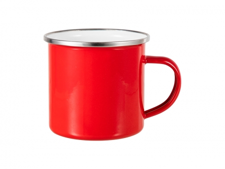 12oz Enamel Mug w/ Flat Bottom-Red