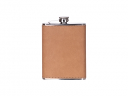 8oz/240ml Stainless Steel Flask with PU Cover (Light Brown)