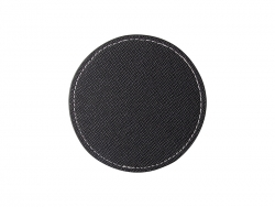 PU Leather Round Mug Coaster (Φ9.5cm,Black)