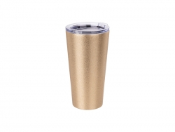 Sublimation 16oz/480ml Glitter Stainless Steel Tumbler w/ Lid (Gold)