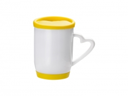 12oz/360ml Ceramic Mug w/ Silicon Lid and Base(Yellow)