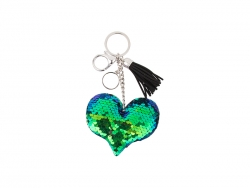 Sequin Keychain w/ Tassel and Insert (Blue and Green Heart)