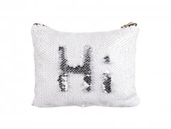 Sequin Makeup Bag / Pencil Case (White/Silver, 16.5*20.5cm)