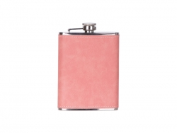 8oz/240ml Stainless Steel Flask with PU Cover (Pink)