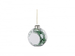 8cm Plastic Christmas Ball Ornament w/ Green String (Clear)