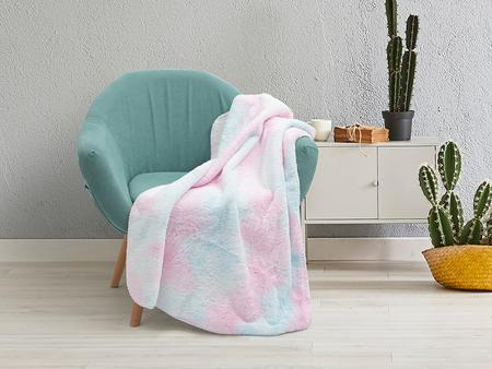 "Tie Dyed Faux Fur Lined Sublimation Minky Blanket(White, 127*152cm/50""x 60"")"