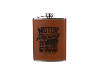 8oz Stainless Steel Flask with PU Cover (Chestnut)