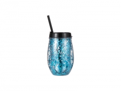 10oz/300ml Double Wall Clear Plastic Stemless Cup (Black, w/ Blue Glitters)