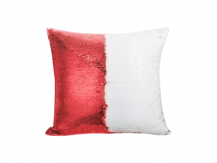 Flip Sequin Pillow Cover (Red w/ White, 40*40cm)