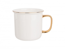 Caneca Bone China Borda e Alça Colorida 9oz/280ml (Dourado)