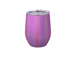 Sublimation 12oz/360ml Glitter Sparkling Stainless Steel Stemless Cup (Purple)