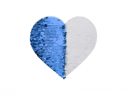 19*22cm Flip Sequins Adhesive White Base (Heart, Dark Blue W/ White)