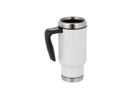 17oz Travel Mug w/ Plastic Insert(White)