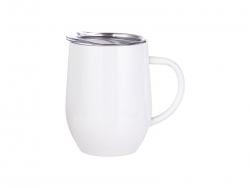 12oz/360ml Stainless Steel Stemless Wine Cup with Handle (White)