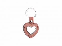 PU Key Chain(Heart, Brown)