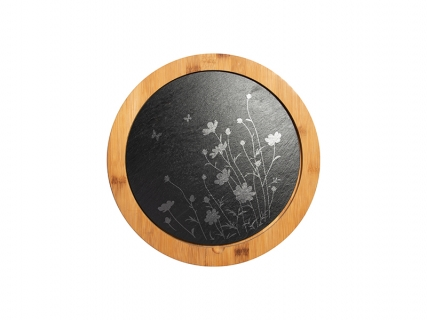Bamboo Cutting Board w/ Slate Inlay (Round, φ30/φ25cm)