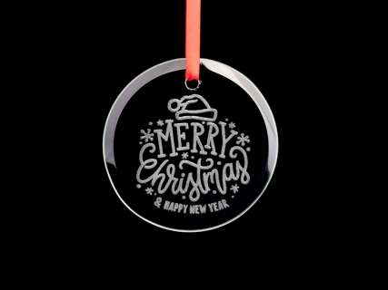 "3.5"" Engraved Glass Ornament (Circle)"