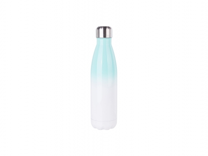 17oz/500ml Stainless Steel Cola Shaped Bottle (Gradient Color White&Green)