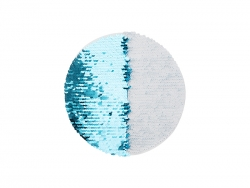 φ19cm Flip Sequins Adhesive White Base (Round, Light Blue w/ White)