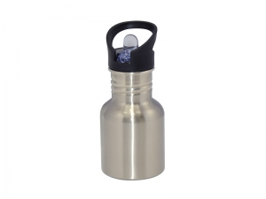 400ml Stainless Steel Water Bottle with Straw Top- Silver