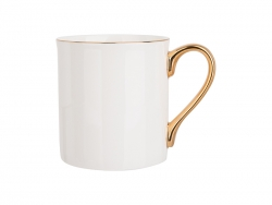 Caneca Bone China Borda e Alça Dourado 10oz/300ml