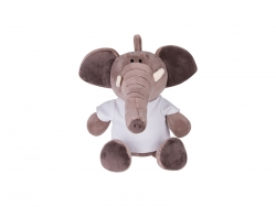 22cm Plush Elephant w/ Shirt (Dark Brown)
