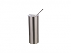 24oz/700ml Stainless Steel Tumbler with Straw & Lid (Silver)