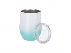 12oz/360ml Stainless Steel Stemless Cup w/ Lid (Gradient Color White&Mint Green)