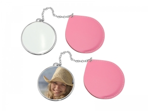 Round Makeup Mirror with Leather Case