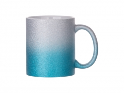Sublimation 11oz/330ml Gradient Bottom Glitter Mug (Silver+Light Blue)