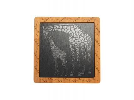 Bamboo Cutting Board w/ Slate Inlay (Square, 24*24cm)