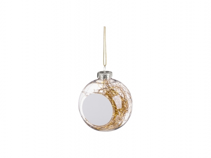 8cm Plastic Christmas Ball Ornament w/ Gold String (Clear)