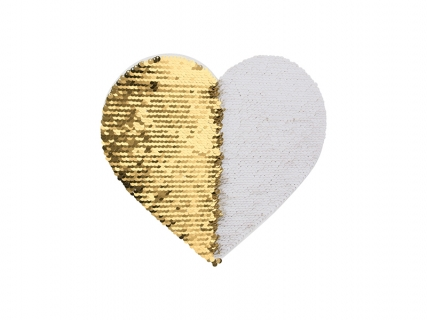 19*22cm Flip Sequins Adhesive White Base (Heart, Gold W/ White)