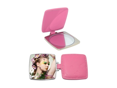 Square Hand Mirror with Leather Case