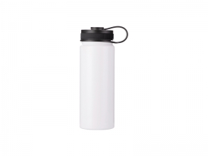 18oz/550ml Stainless Steel Flask w/ Portable Lid (White)