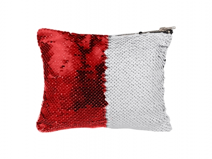 Sequin Makeup Bag / Pencil Case (Red/White)