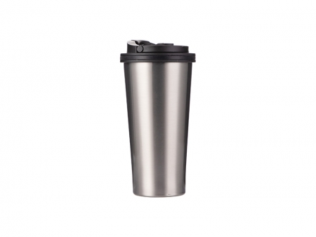16oz Stainless Steel Tumbler (Silver) w/ Handle