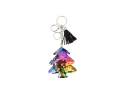 Sequin Keychain w/ Tassel and Insert (Mixed-Color Christmas Tree)