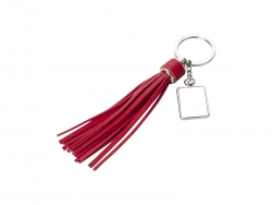 Square Keychain w/ Long Tassel (Red)