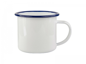 12oz/360ml Enamel Cup with Blue Rim
