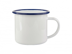 12oz Enamel Cup with Blue Rim