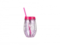 10oz/300ml Double Wall Clear Plastic Stemless Cup (Rose Red, w/ Purple Glitters)