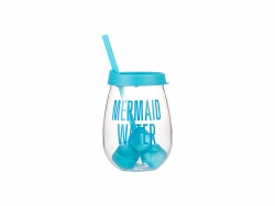 10oz/300ml Clear Plastic Stemless Cup (Light Blue, w/ Reusable Ice Cubes)