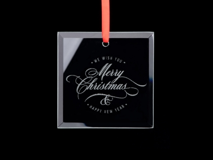 "3.5"" Engraved Glass Ornament (Square)"