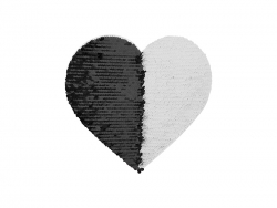 19*22cm Flip Sequins Adhesive White Base (Heart, Black W/ White)