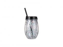 10oz/300ml Double Wall Clear Plastic Stemless Cup (Black, w/ Silver Glitters)