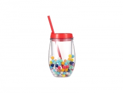 10oz/300ml Double Wall Clear Plastic Stemless Cup (Red, w/ Mini Foam Balls)