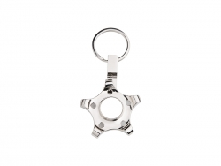 Fidget Spinner Key Ring (Pentagonal Gear, Silver)