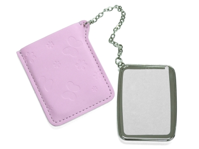 Rectangular Hand Mirror with Leather Case